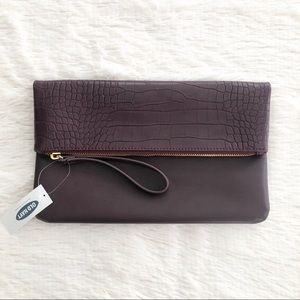 Old Navy NWT Purple Snake Texture Foldover Clutch